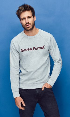 sudadera sostenible green forest wear para hombre color gris con estampado contraste