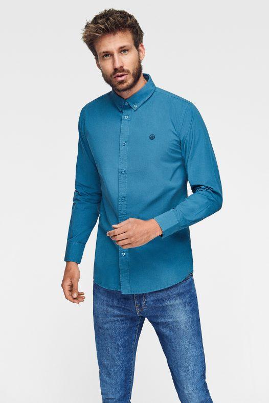camisa lisa azul de algodón ecológico en color azul