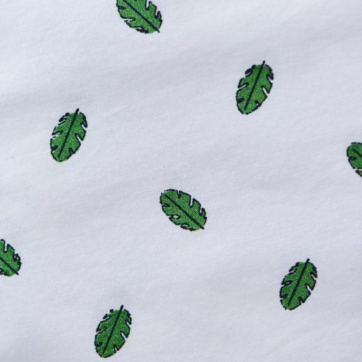 estampado hojas camisa algodón orgánico certificado