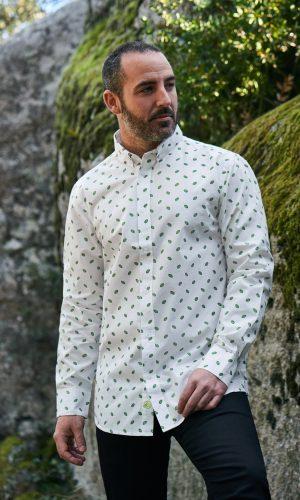 camisa estampada Leafs para hombre elaborada con algodón orgánico