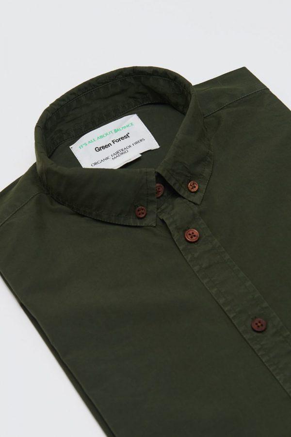 CAMISA LISA RIFLE GREEN de hombre. Moda sostenible online, algodón orgánico.