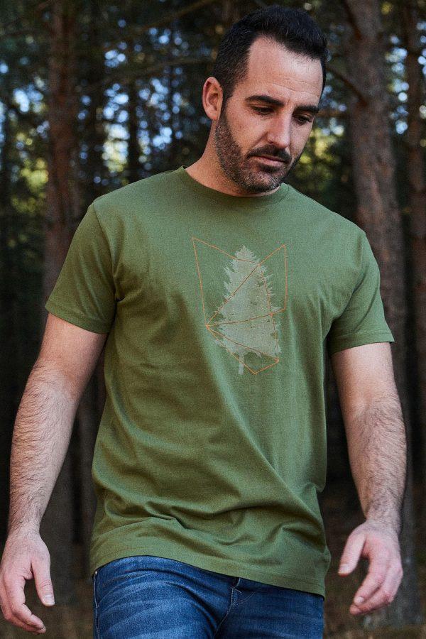 CAMISETA ESTAMPADA TREE para hombre de manga corta en color verde