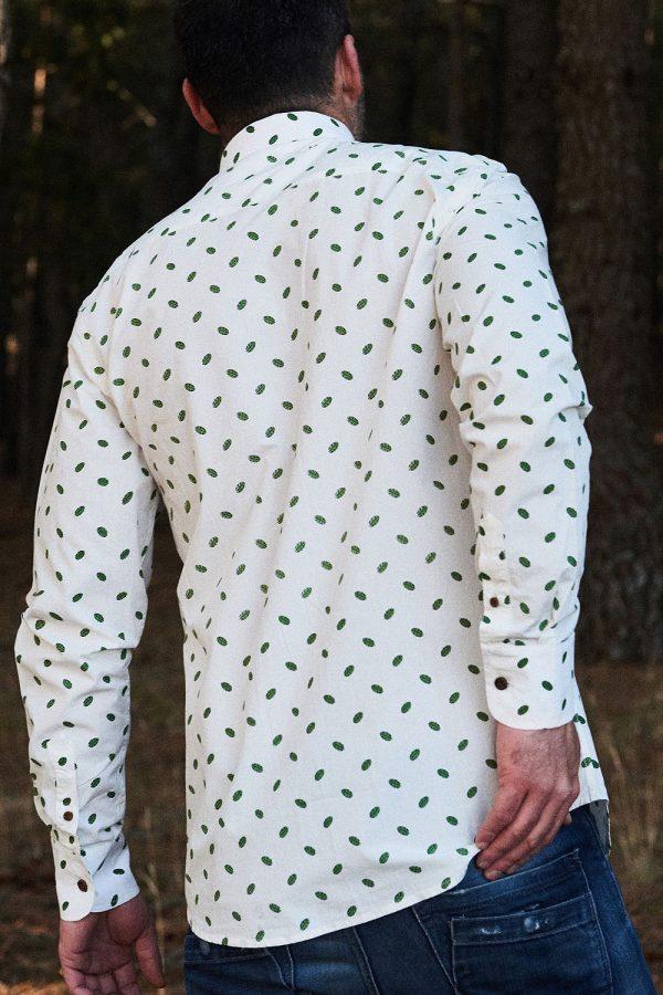CAMISA ESTAMPADA LEAFS para hombre hipster, en algodón orgánico y tintes naturales