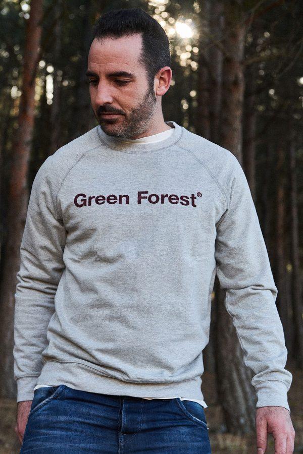 sudadera gris algodón orgánico con estampado hombre ropa ecológica