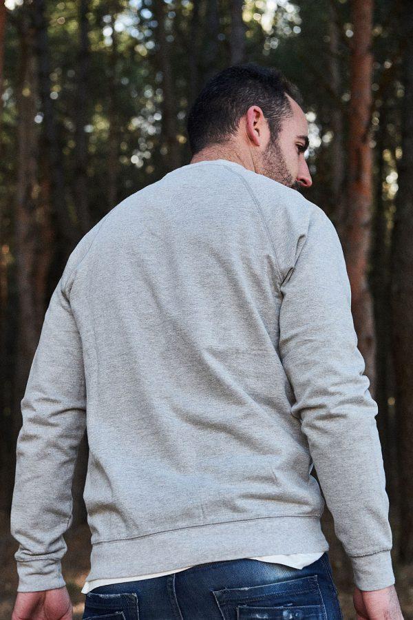moda eco friendly sudadera algodón orgánico hombre gris