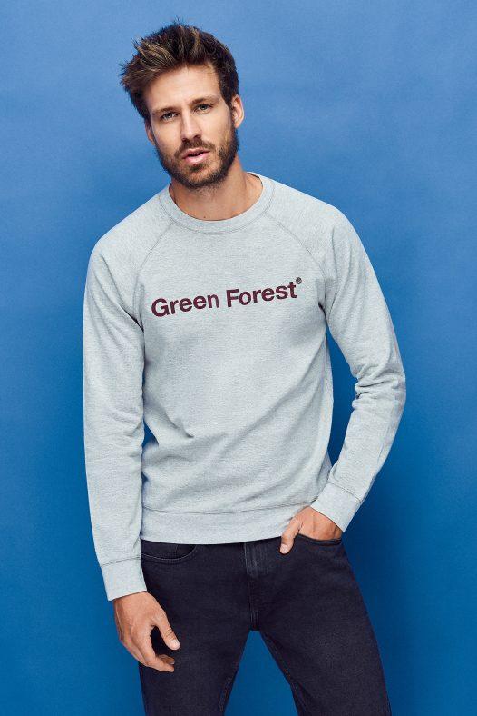 sudadera sostenible green forest wear para hombre color gris con estampado contraste