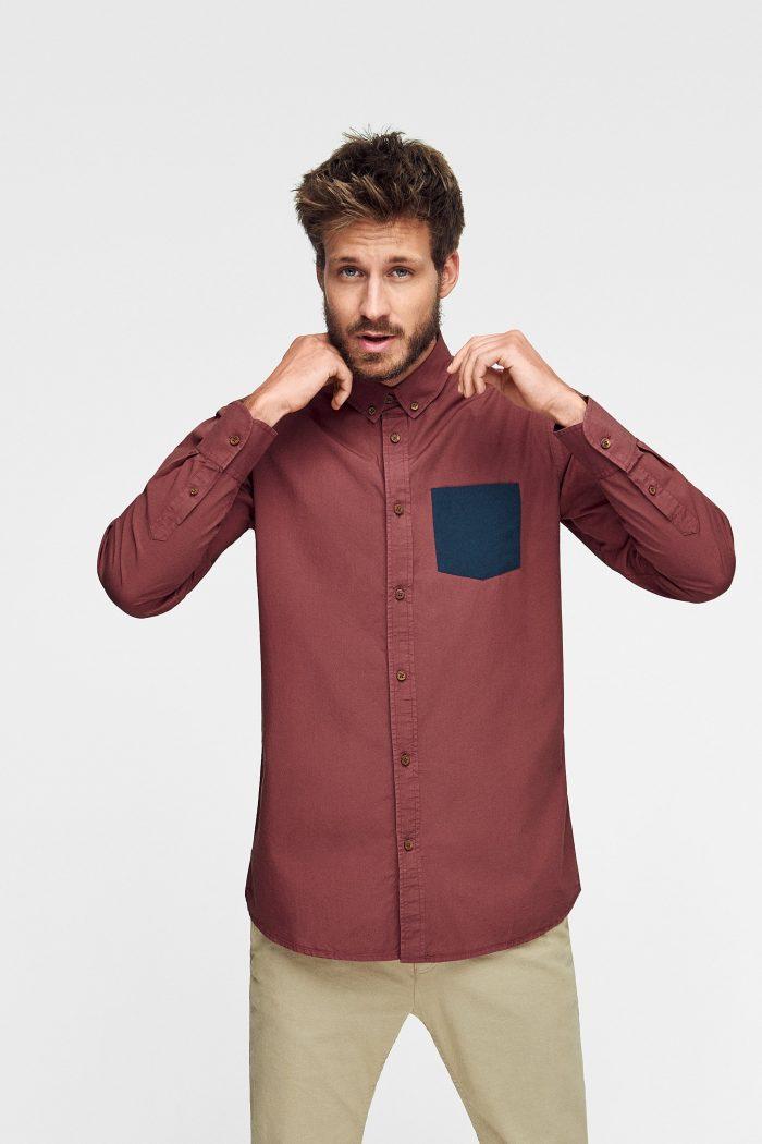 camisa scotland algodón orgánico con bolsillo de green forest wear