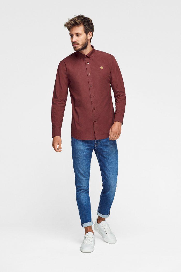 camisa burdeos algodón orgánico para hombre