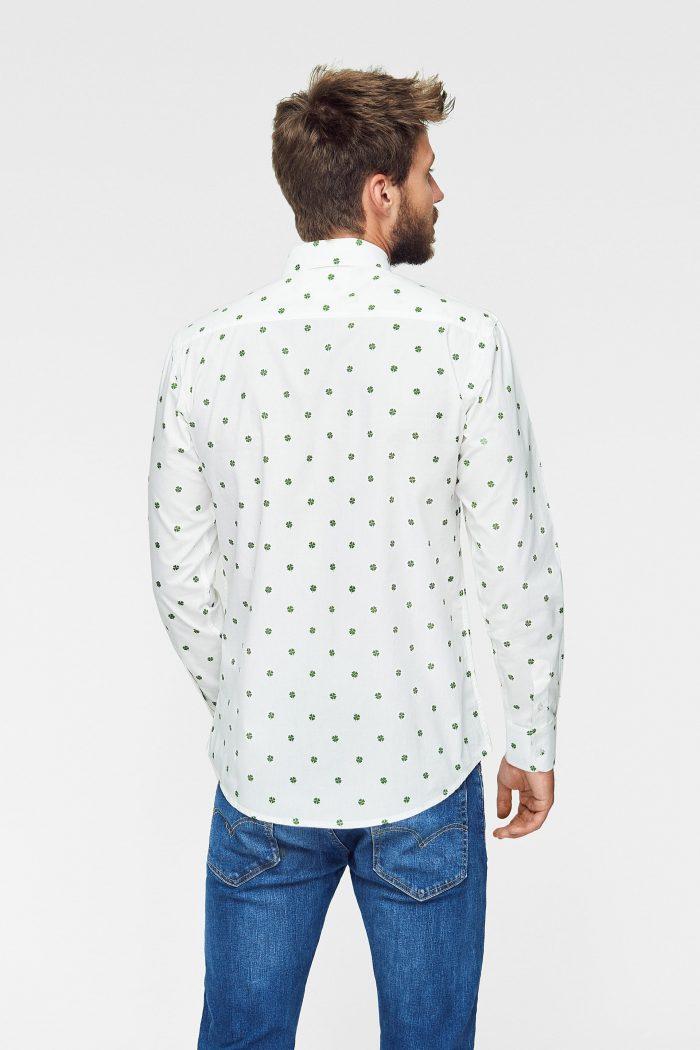 camisa estampada con tréboles de manga larga para hombre