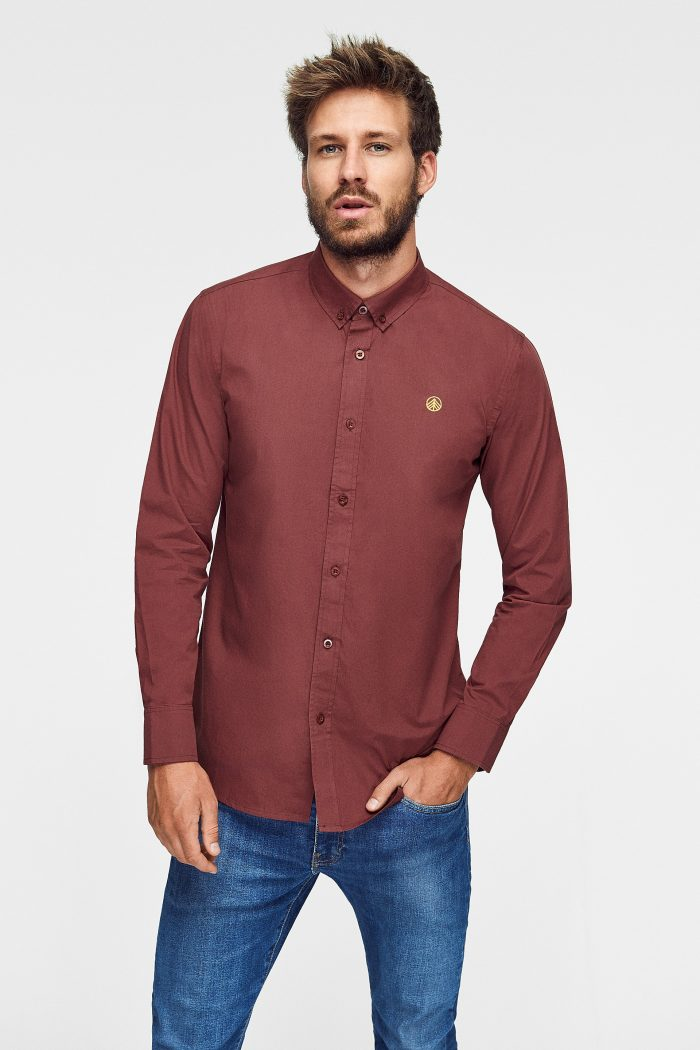camisa lisa hombre de algodón ecológico green forest wear