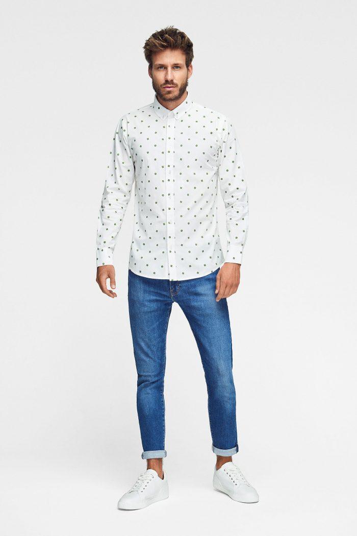 camisa estampada de algodón orgánico para hombre