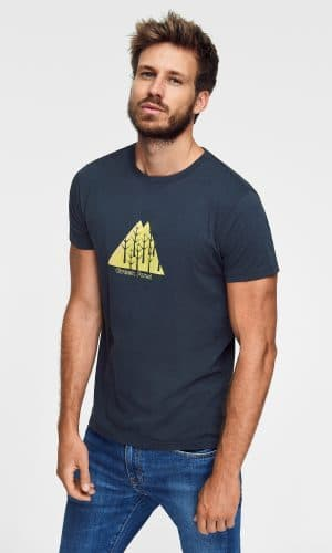 camiseta estampada triangle de algodón orgánico con estampado árboles de green forest wear