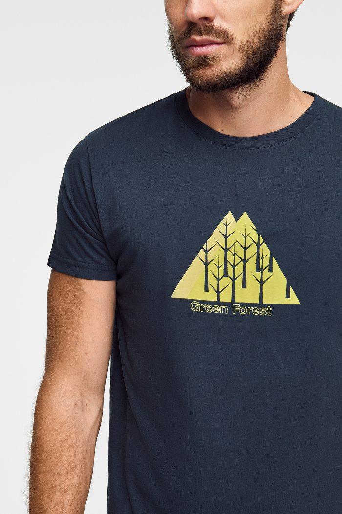 camiseta ecológica para hombre en azul marino Green Forest Wear