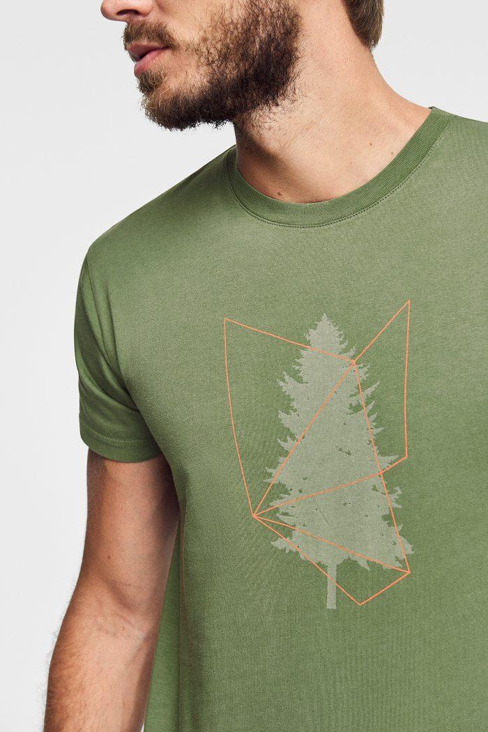 camiseta estampada tree green forest wear para hombre hecha de algodón orgánico en color verde