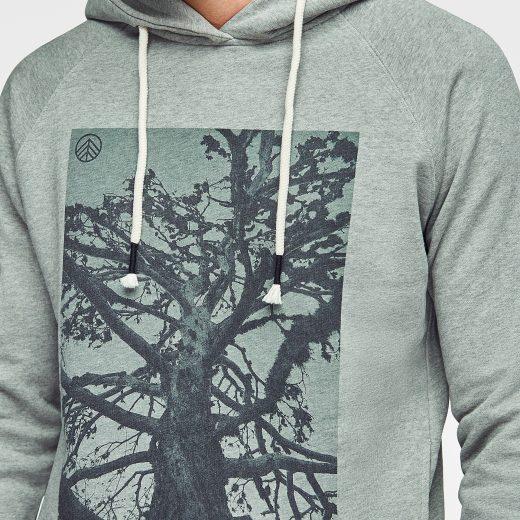 sudadera hoodie hombre con estampado árbol green forest wear