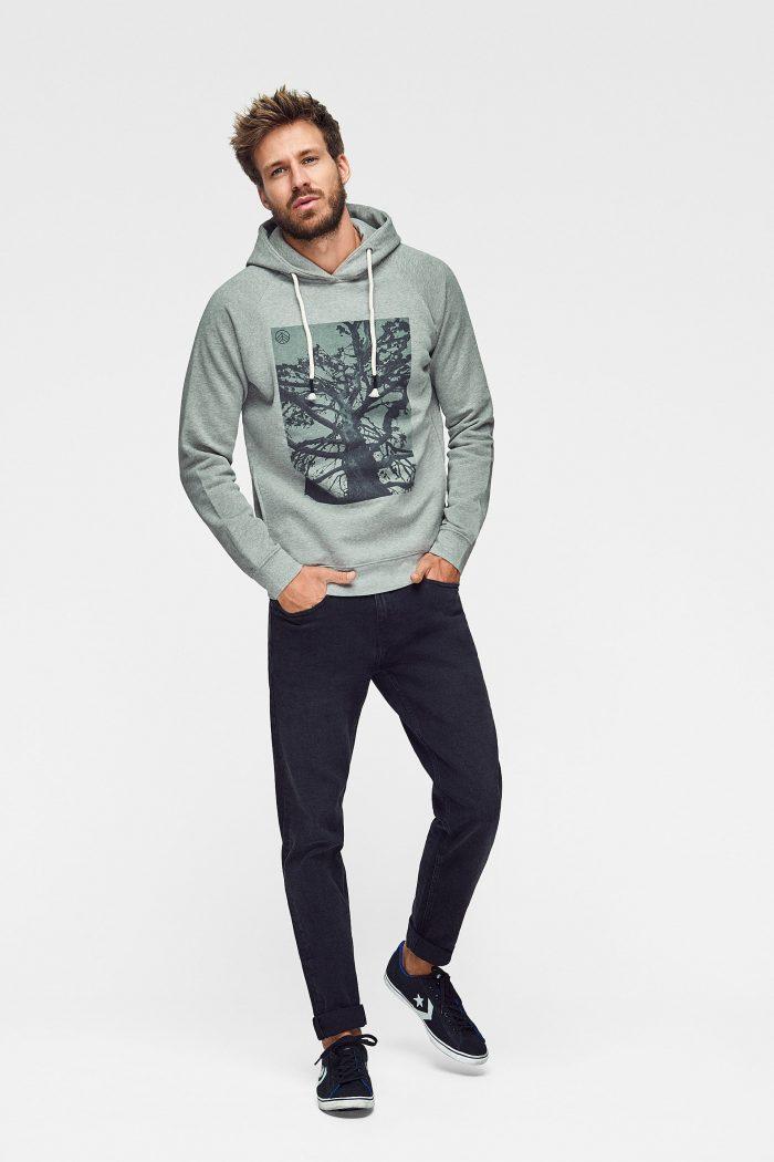 sudadera hoodie lunar rock ecológica para hombre green forest wear