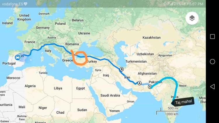 mapa con trayecto del viaje de Turquía a la India