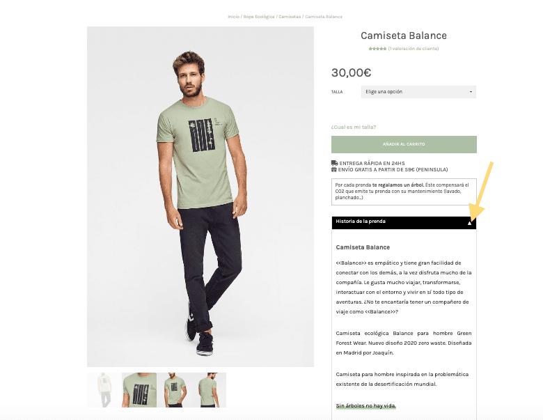 Ficha de producto para camiseta ecológica Green Forest Wear modelo Balance