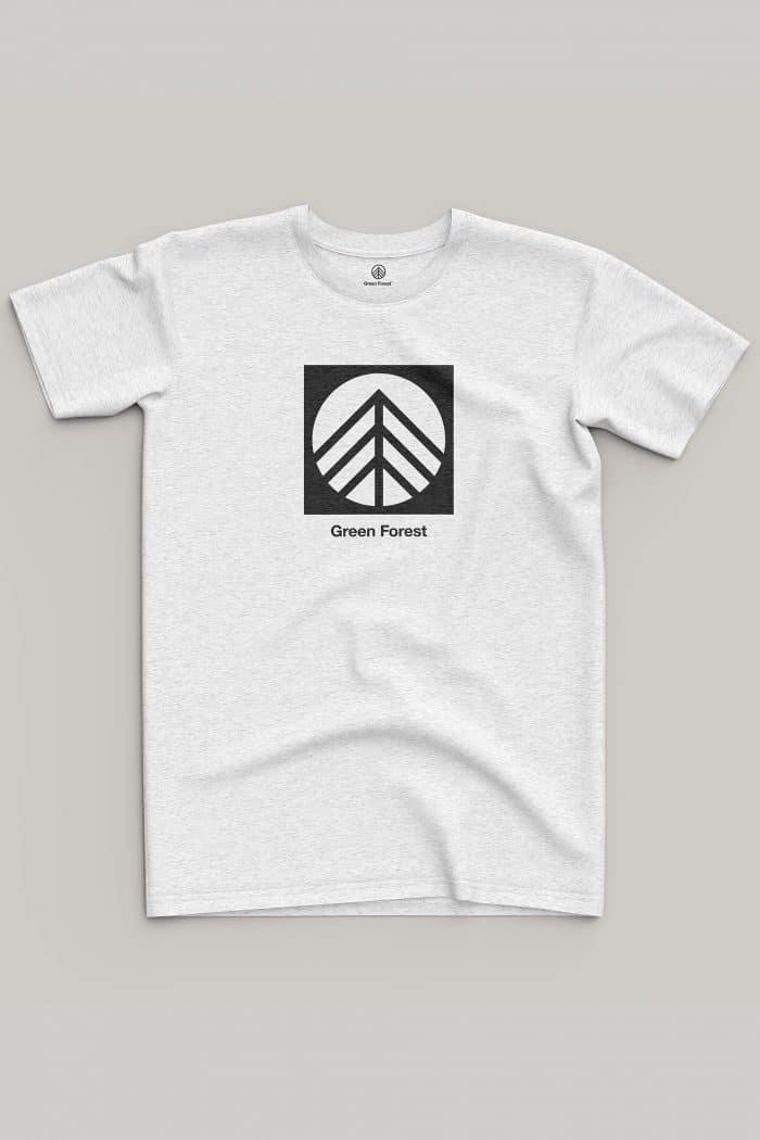 camiseta black and white de algodón ecológico green forest wear