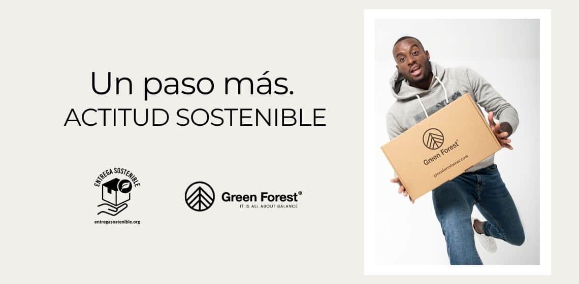 entrega sostenible en green forest wear